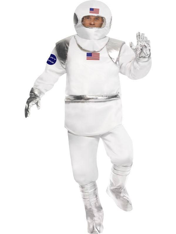Fehér Űrhajós Jelmez Férfiaknak Felsővel, Nadrággal, Sisakkal, Kesztyűvel és Cipőtakaróval - M