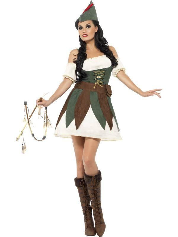 Szexi Fehér-Zöld-Barna Robin Hood Jelmez Nőknek Ruhával, Sapkával és Övvel - S