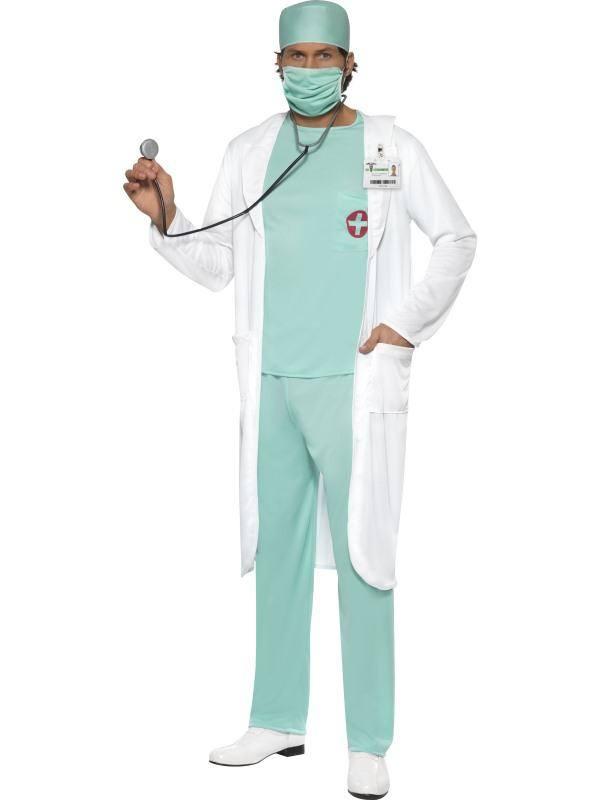Fehér-Zöld Orvos Férfi Jelmez - L