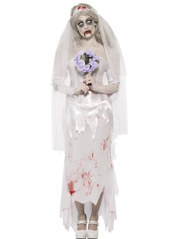 Fehér Zombi Menyasszony Jelmez Nőknek Ruhával, Fátyollal és Csokorral - L