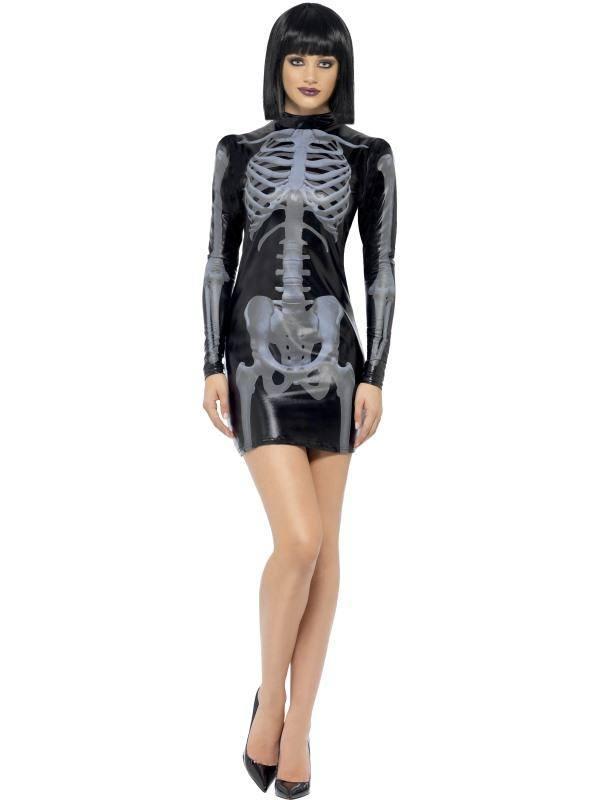 Szexi Fekete 3D Csontváz Jelmez Nőknek Mini Ruhával - M