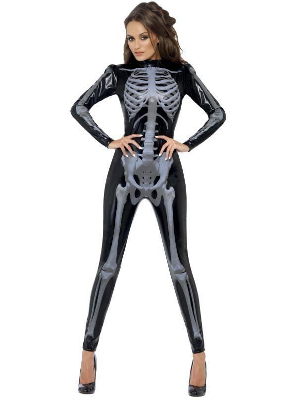 Szexi Fekete 3D Csontváz Jelmez Nőknek Overállal - XS