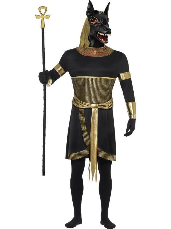 Fekete Anubisz Isten Jelmez Férfiaknak Tunikával, Karpánttal és Maszkkal - L
