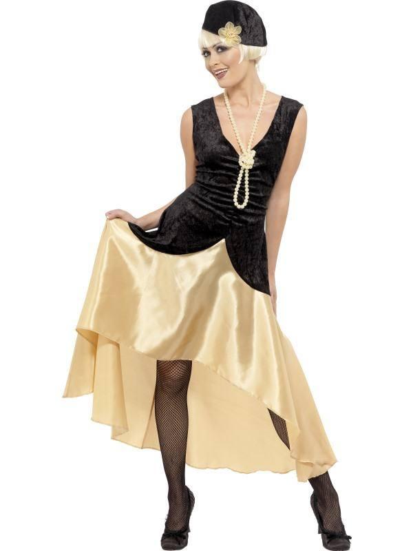 Szexi Fekete-Arany 1920-as Évekbeli Gatsby Jelmez Nőknek Ruhával, Sapkával és Gyöngy Nyaklánccal - M
