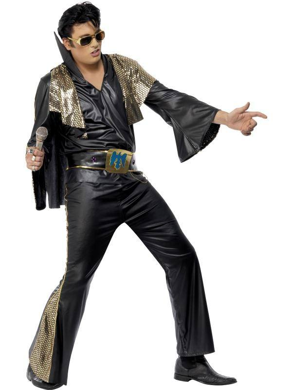 Fekete-Arany Elvis Presley Jelmez Férfiaknak Inggel, Nadrággal, Köpennyel és Övvel - L