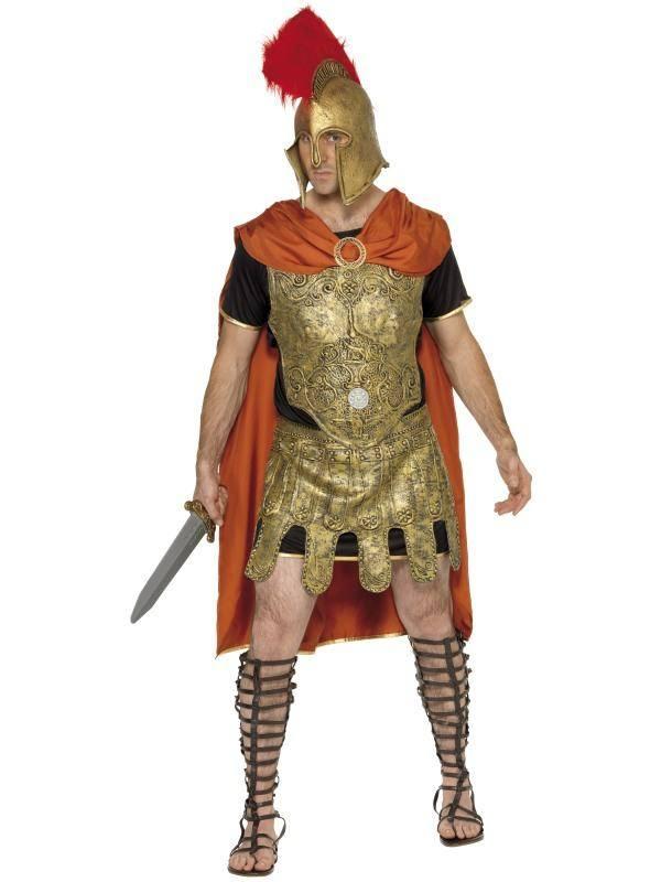 Fekete-Arany-Narancssárga Római Harcos Jelmez Férfiaknak Köpennyel, Tunikával, Páncéllal, Mellvérttel és Szoknyával - M