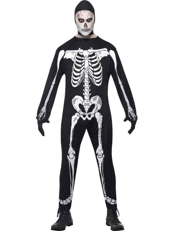 Fekete Egyberészes Csontváz Jelmez Egyéb Kiegészítőkkel - L