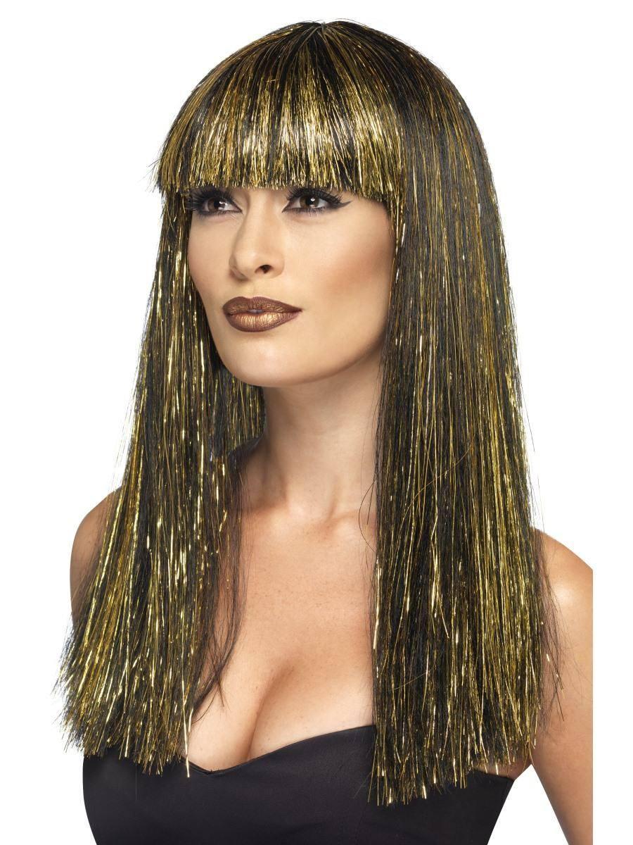 Fekete Egyiptomi Istennő Paróka Arany Szálakkal