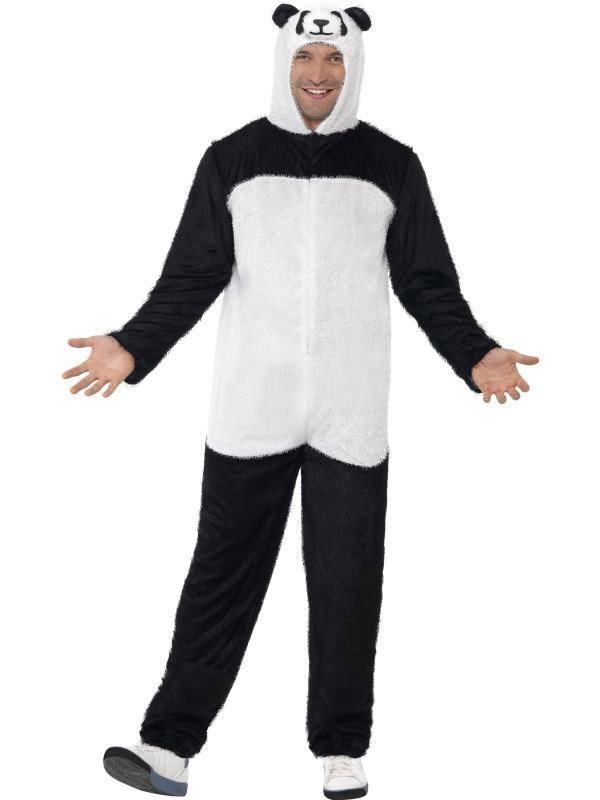 Fekete-Fehér Panda Jelmez Férfiaknak Kapucnis Kezeslábassal - L