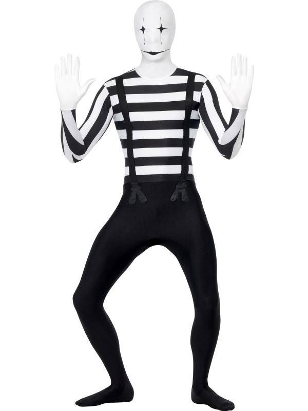 Fekete-Fehér Pantomim Testhez Álló Jelmez Férfiaknak - L