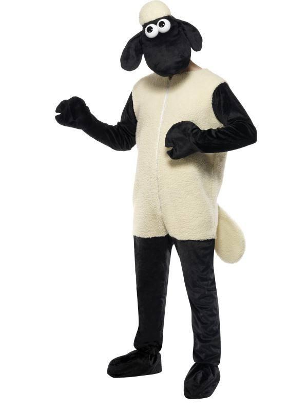 Fekete-Fehér Shaun A Bárány Jelmez Férfiaknak Kezeslábassal és Fejdísszel