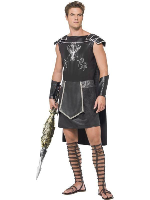 Fekete Gladiátor Jelmez Férfiaknak Tunikával és Karpánttal - M