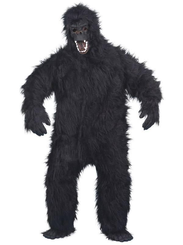 Fekete Gorilla Jelmez Férfiaknak Kezeslábassal, Maszkkal, Kézzel és Lábbal