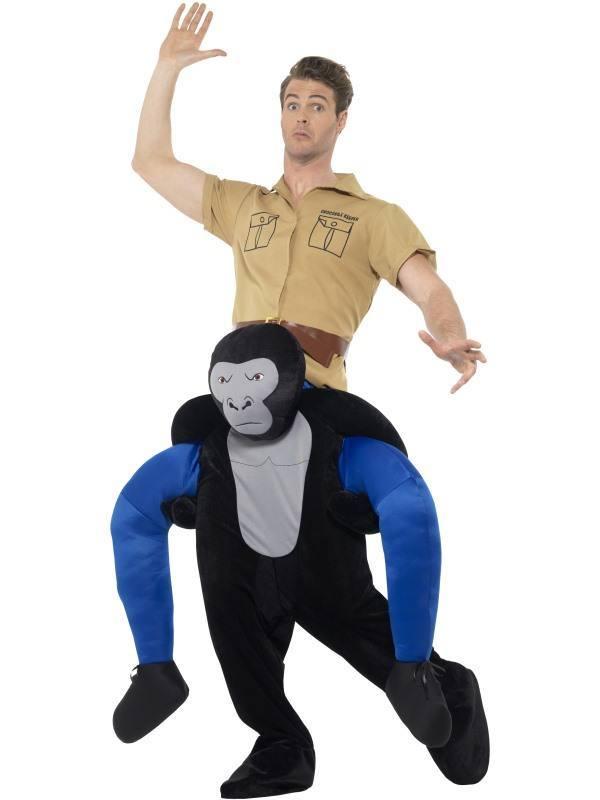 Fekete Gorilla Hátán Lovagló Jelmez Férfiaknak