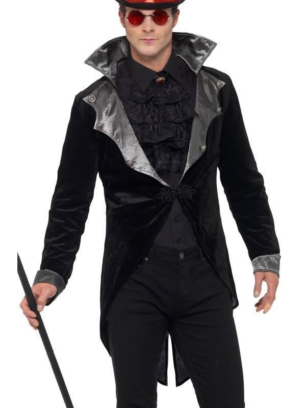 Fekete Gótikus Vámpír Kabát Férfiaknak Álló Gallérral - XL