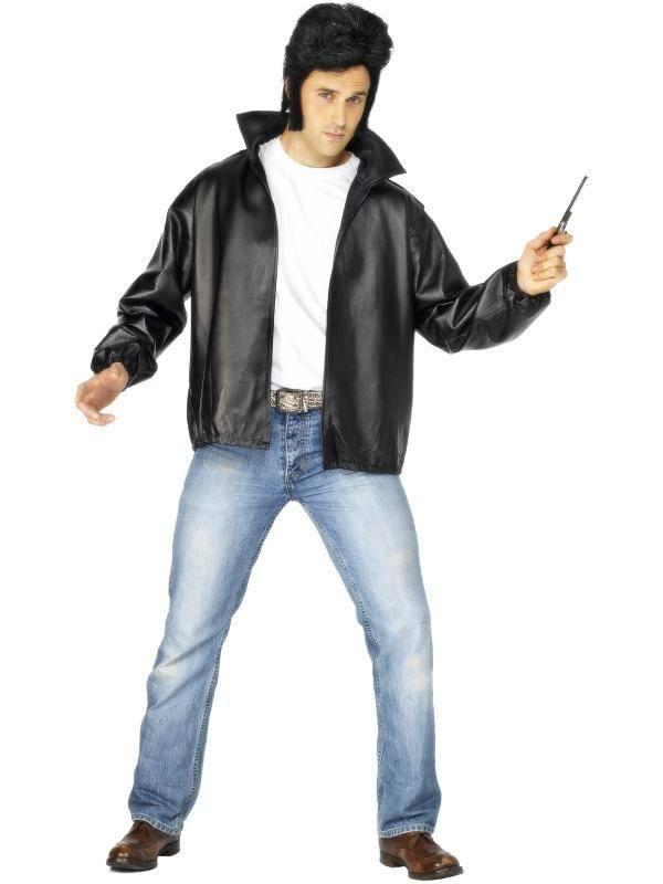 Fekete Grease T-Birds Kabát Jelmez Férfiaknak - L