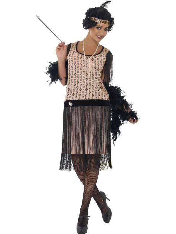 Szexi Fekete-Halvány Rózsaszín 1920-as Évekbeli Jelmez Nőknek Ruhával, Szipkával, Nyaklánccal és Fejdísszel - S
