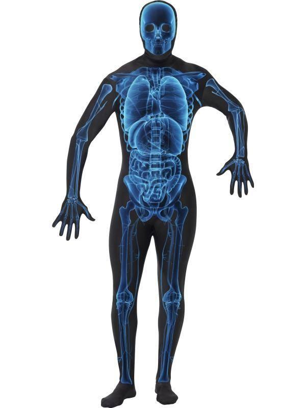 Fekete-Kék Röntgenkép Testhez Álló Jelmez Felnőtteknek - M