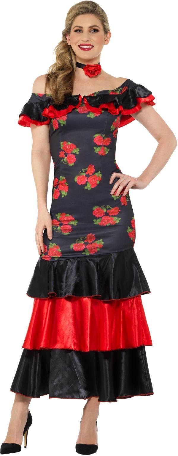 Fekete-Piros Flamenco Táncos Jelmez Nőknek Ruhával és Nyakpánttal - S