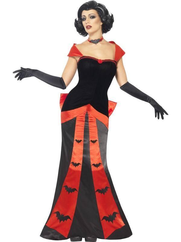 Szexi Fekete-Piros Vámpír Jelmez Nőknek Ruhával, Kesztyűvel és Nyakpánttal - L