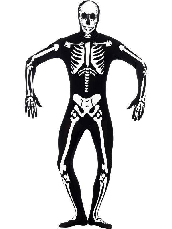 Fekete Világító Csontváz Testhez Álló Jelmez Férfiaknak - S