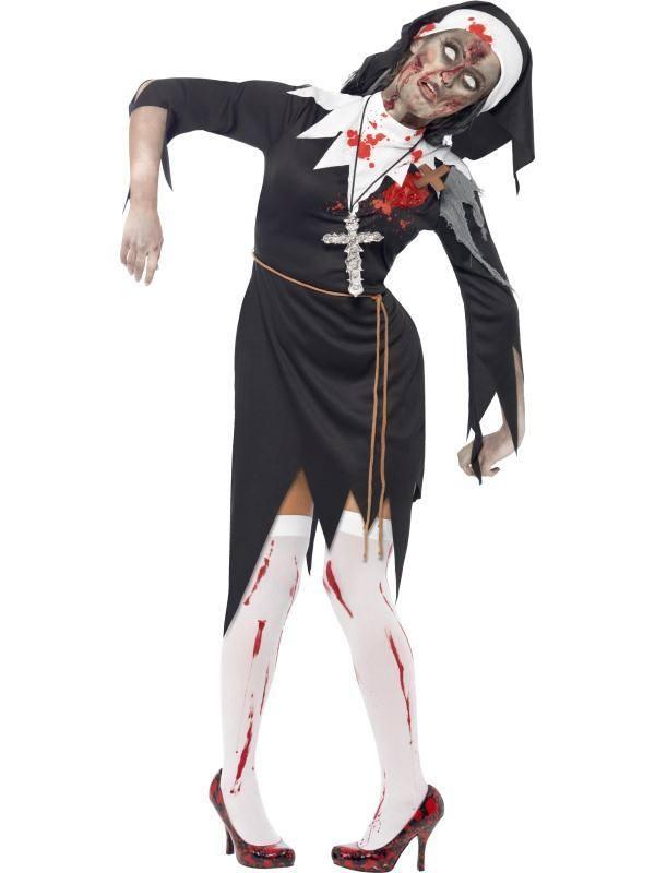 Fekete Zombi Apáca Jelmez Nőknek Ruhával, Övvel és Fejdísszel - M