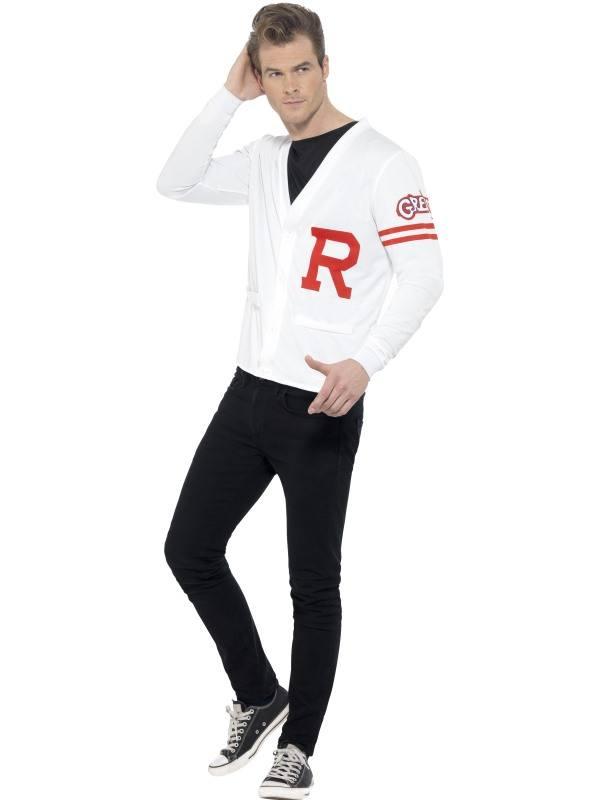 Fehér Grease Rydell Prep Jelmez Férfiaknak Mellénnyel - L