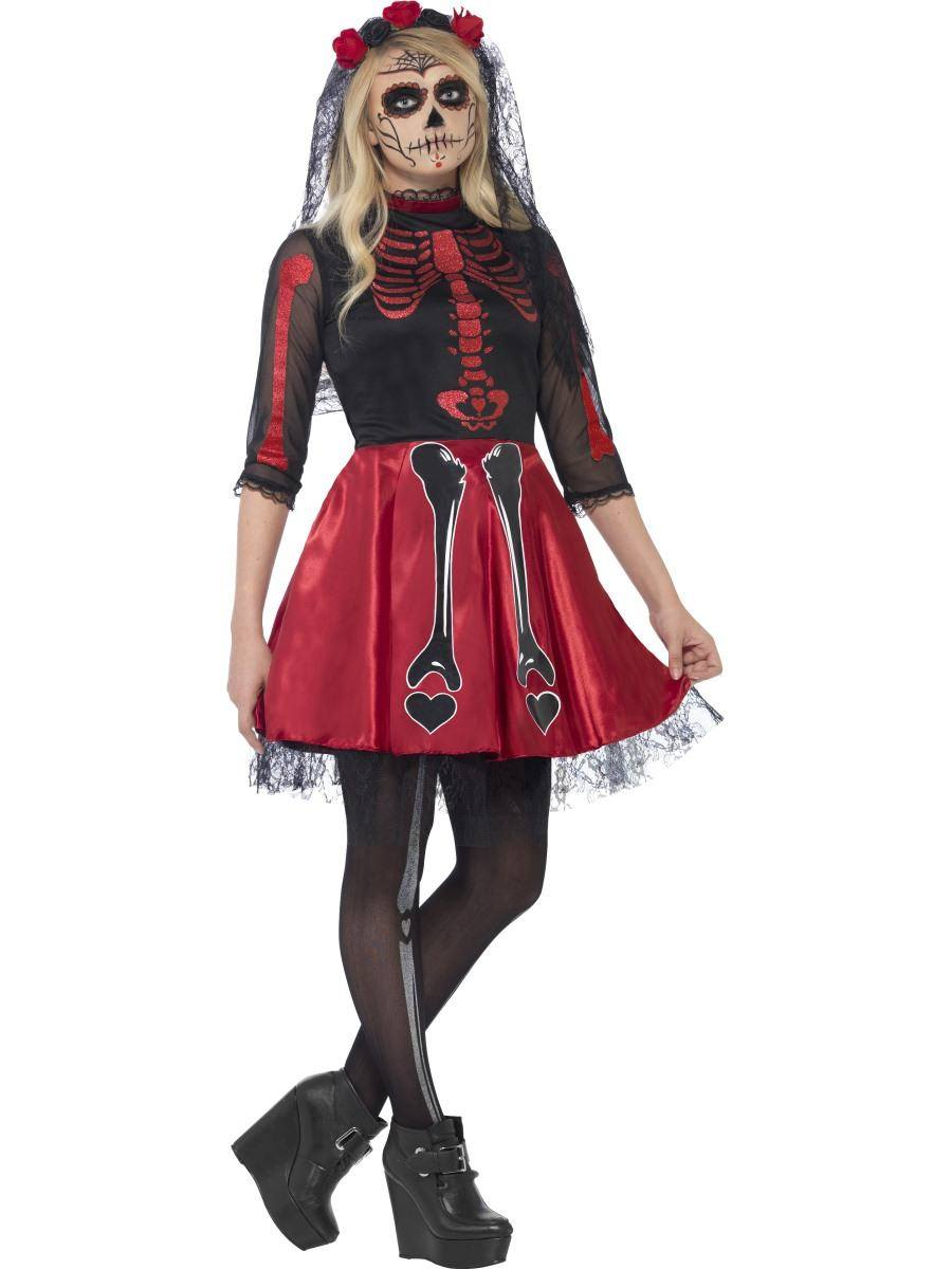 Fekete-Piros Halott Díva Jelmez Nőknek Halloweenre