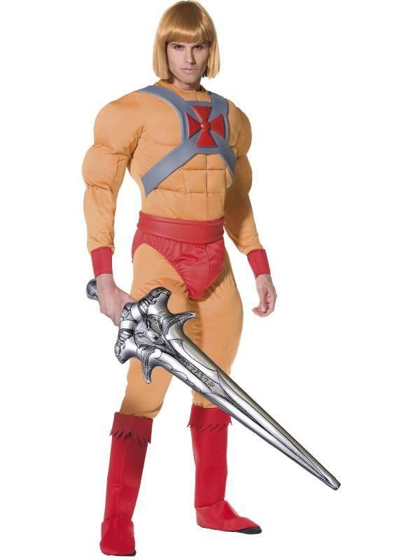 He-Man A Világ Ura Adam Herceg Jelmez Férfiaknak Izmos Kezeslábassal, Cipőtakaróval és Felfújható Karddal - M