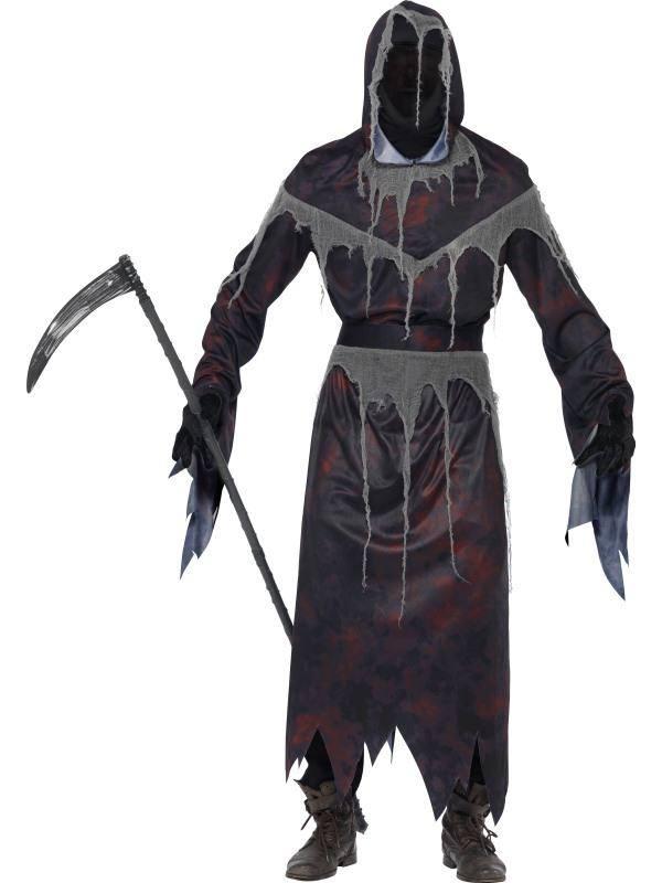 Fekete Kaszás Jelmez Férfiaknak Halloweenre