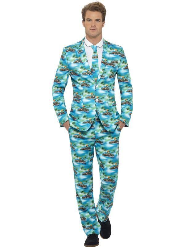 Kék Aloha! Hawaii Öltöny Jelmez Férfiaknak Zakóval, Nadrággal és Nyakkendővel - XL