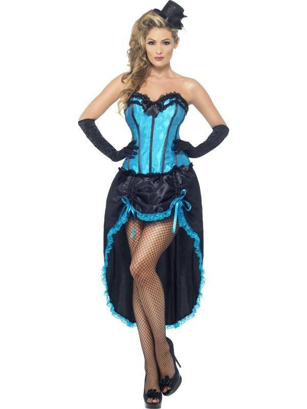 Szexi Kék Burleszk Táncos Jelmez Nőknek Fűzővel és Szoknyával - M