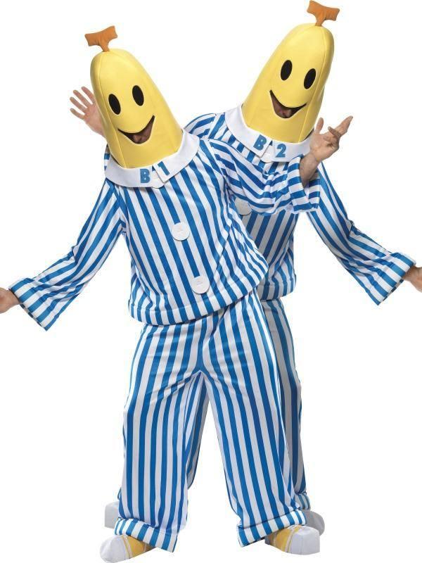 Kék-Fehér-Sárga Bananas in Pyjamas Pizsamás Banánok Jelmez Férfiaknak Felsővel, Nadrággal, Fejdísszel és Cipőtakaróval - M