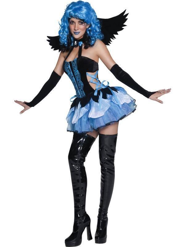 Szexi Kék-Fekete Angyal Jelmez Nőknek Ruhával, Szárnnyal és Kesztyűvel - M