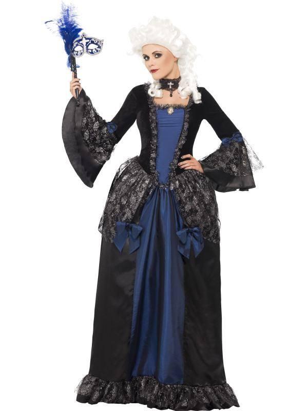 Kék-Fekete Barokk Szépség Az Álarcosbálban Jelmez Nőknek Ruhával - M