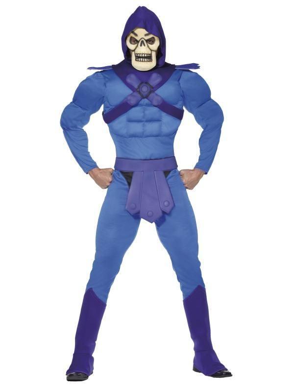 Kék He-Man A Világ Ura Skeletor Jelmez Férfiaknak Izmos Kezeslábassal, Cipőtakaróval és Maszkkal - L