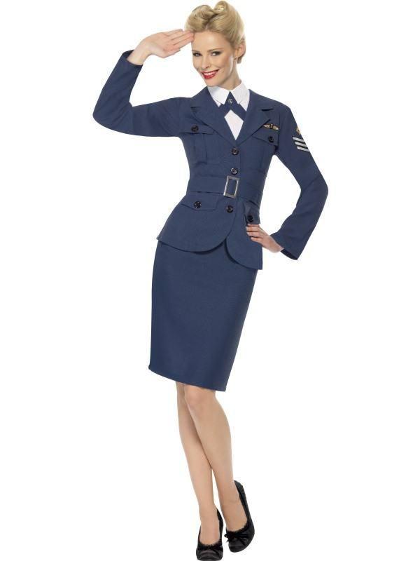 Szexi Kék II. Világháborús Légierők Jelmez Nőknek Kabáttal, Szoknyával és Övvel - M