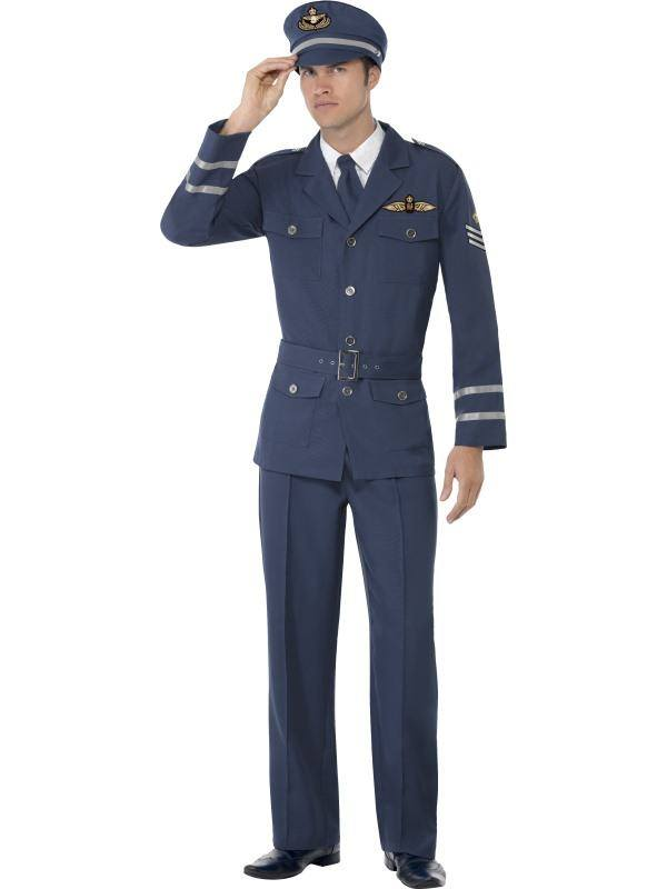 Kék II. Világháborús Pilóta Jelmez Férfiaknak Nadrággal, Kabáttal, Sapkával és Nyakkendővel - M