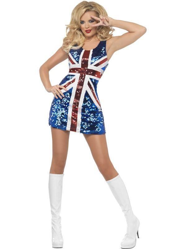 Szexi Kék-Piros-Fehér Brit Zászlós Jelmez Nőknek Flitteres Ruhával - L
