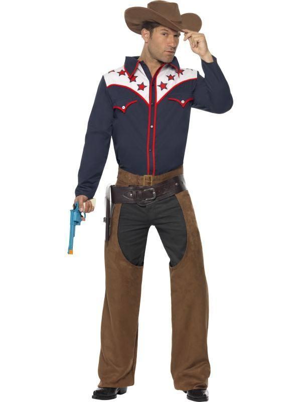 Kék Rodeó Cowboy Jelmez Férfiaknak Inggel, Nadrággal és Kalappal - M