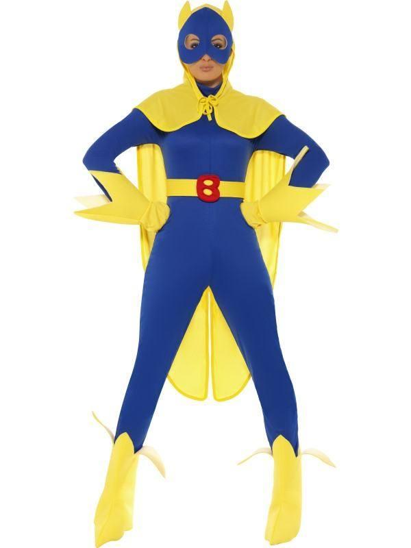 Kék-Sárga Bananaman Banán Szuperhős Jelmez Nőknek Overállal, Maszkkal, Köpennyel, Kesztyűvel és Cipőtakaróval - S