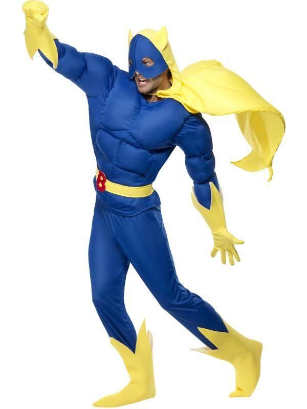 Kék-Sárga Bananaman Banánember Testhez Álló Jelmez Férfiaknak Felsővel, Nadrággal, Köpennyel, Övvel, Kesztyűvel és Cipőtakaróval - M