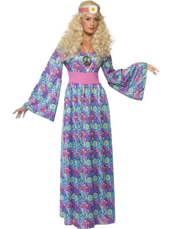 Szexi Lila Virágos Hippi Jelmez Nőknek Maxi Ruhával - XL
