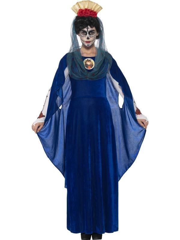 Kék Mexikói Halottak Napja Szent Mária Jelmez Nőknek Ruhával, 3D Szívvel, Hajpánttal és Kapucnival - S