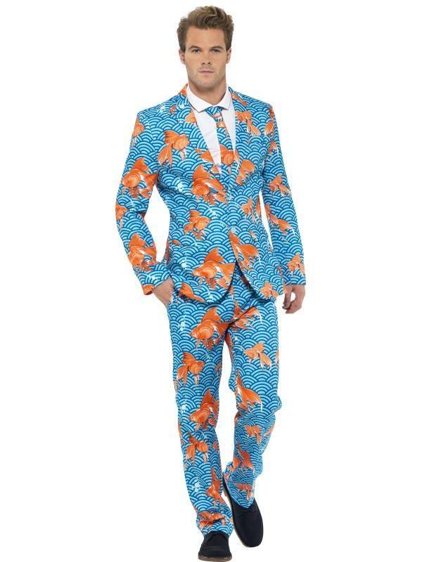 Narancssárga-Kék Aranyhal Mintás Öltöny Jelmez Férfiaknak Zakóval, Nadrággal és Nyakkendővel - L