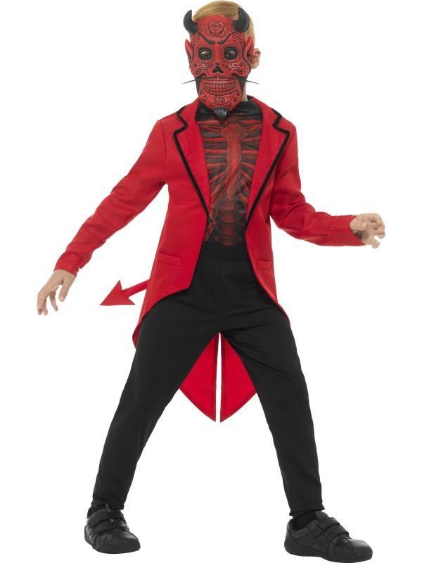 Halott Ördög Napja Jelmez Kisfiúknak Halloweenre Maszkkal ? L