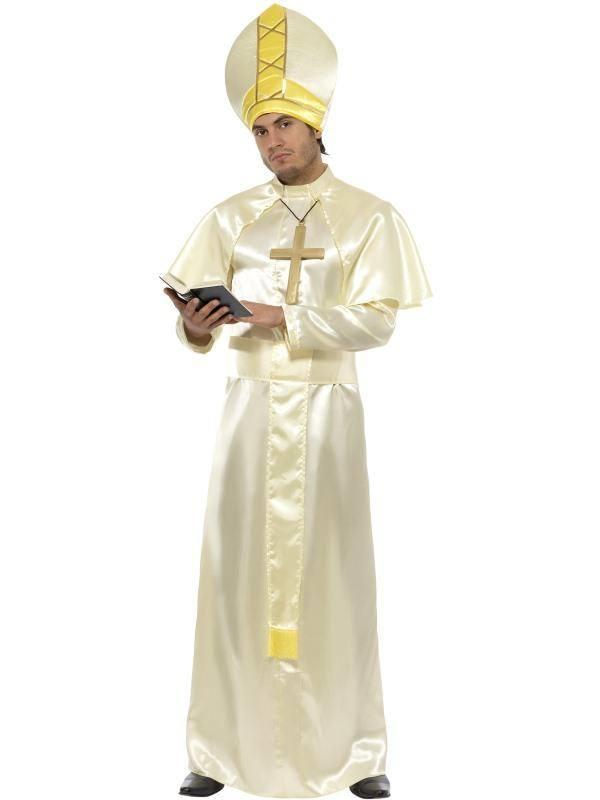 Pápa Jelmez Férfiaknak Ruhával, Vállszalaggal, Süveggel, Nyaklánccal és Köpennyel - M