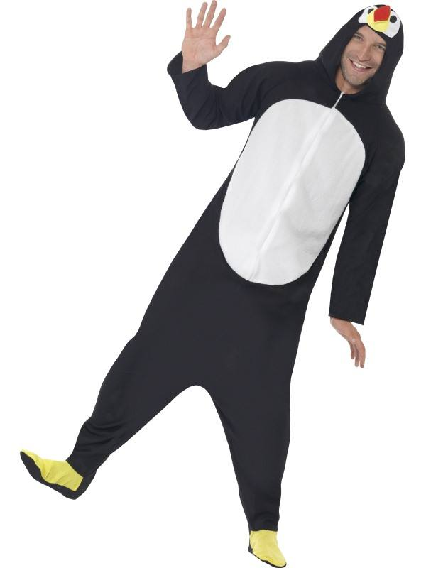 Fekete-Fehér Pingvin Jelmez Férfiaknak Kapucnis Kezeslábassal - XL