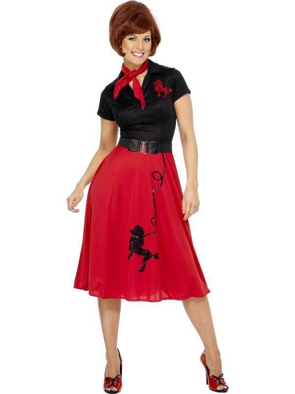 Piros 1950-es Évekbeli Uszkár Mintás Jelmez Nőknek Ruhával, Sállal és Övvel - L