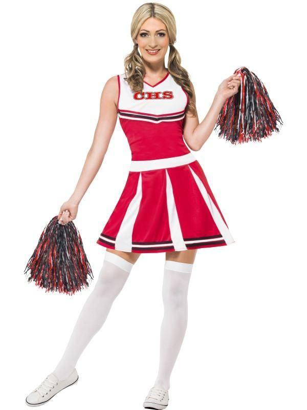Szexi Piros Cheerleader Jelmez Nőknek Ruhával és Pom-Pommal - S